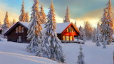 Home In The Snow Illuminated By The Sun
