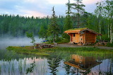 Chalet in the woods by the pond