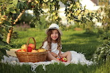 girl with apple basket