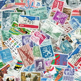Colorful postage stamps