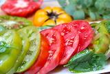 ^ Heirloom tomato slices