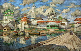 View of an Old Town by Konstantin Gorbatov