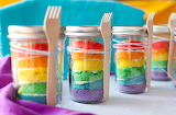 Rainbow jar cakes