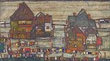 Egon Schiele, Häuser mit bunter Wäsche, 1914