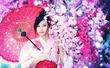 Girl, umbrella, flowers, asian, beauty