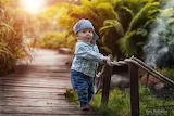 Bridge, surprise, boy, baby, cap, child, kid, nature