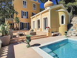 Quirky Mediterranean yellow villa, terrace and pool