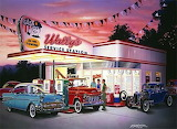 Wally's Service Station with old classics