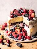 #Triple Layer Roasted Berry Piñata Ice Cream Cake