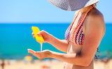 Sea, summer, girl, tan, hat, cream, sunbathing, beach