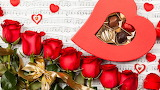 Flowers - roses - chocolate - valentine's day - music sheets