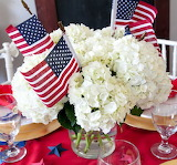 ^ July 4 centerpiece with flags