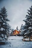 Winter snowy cabin
