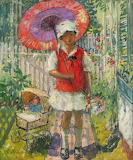 Girl with Red Parasol~ Pauline Palmer