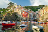 Sea, rocks, coast, villa, boats, Italy, houses, Riomaggiore