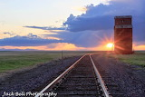 Grain elevator sunset