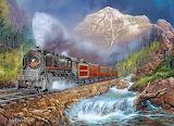 landscape with steam locomotive