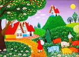 Houses-path-meadow-animals-painting