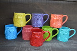 ^ Owl mugs in bright colors