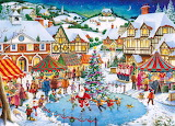 Village-houses-christmas market-skating rink-tree-people-paintin