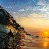 Sunset reflecting off the Wave