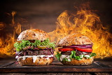 ^ Fast food Hamburgers Vegetables Fire Two