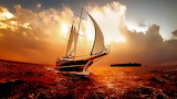 sailing in the sunrise
