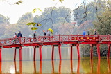 Vietnam, red wooden bridge, people, lake, park, trees, autumn