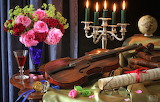 Notes, violin, watch, glass, books, roses, bouquet, candles, gla