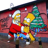 Santa Claus & Homer Simpson, Street Craffiti, Brick Lane, Christ