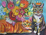 Semenov two cats with flowers