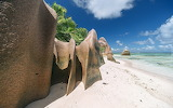 Skały na wyspie La Digue