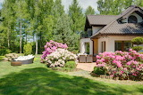 Cottage with garden and flowers