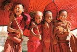 Happy Boys Buddhist Students Tibet