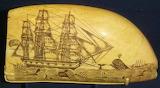Nantucket Whale Tooth Scrimshaw by E. Burdett