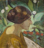 Zbigniew Pronaszko, Portrait of a Woman Among Flowers, 1915