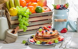Pancakes and fruits