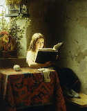 Young Girl Reading at a Table ~ Johann Georg Meyer (1)