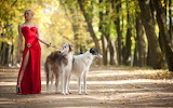 Girl and dog -red