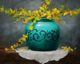 Forsythia and Teal