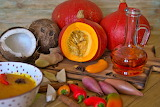 Soup, pumpkins, coconuts, onions, peppers, ginger, oil