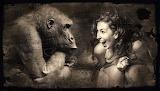 woman and monkey
