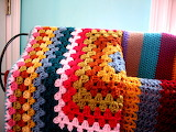 Granny square afghan and stiped one