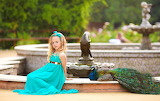 Girl, park, bird, girl, peacock, child, kid, beauty, blue dress