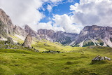 Mountains, meadows, rocks, sky, clouds, landscape