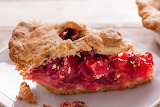 ^ Strawberry rhubarb pie with sour cream pie crust