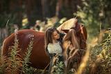 Girl, horse, nature, beauty