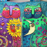 Laurel Burch ,Two Cats and Sun and Moon