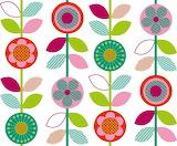 Hot Pink Retro Flowers repeat