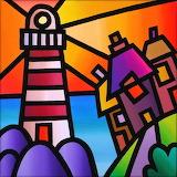Lighthouse on Purple Rocks